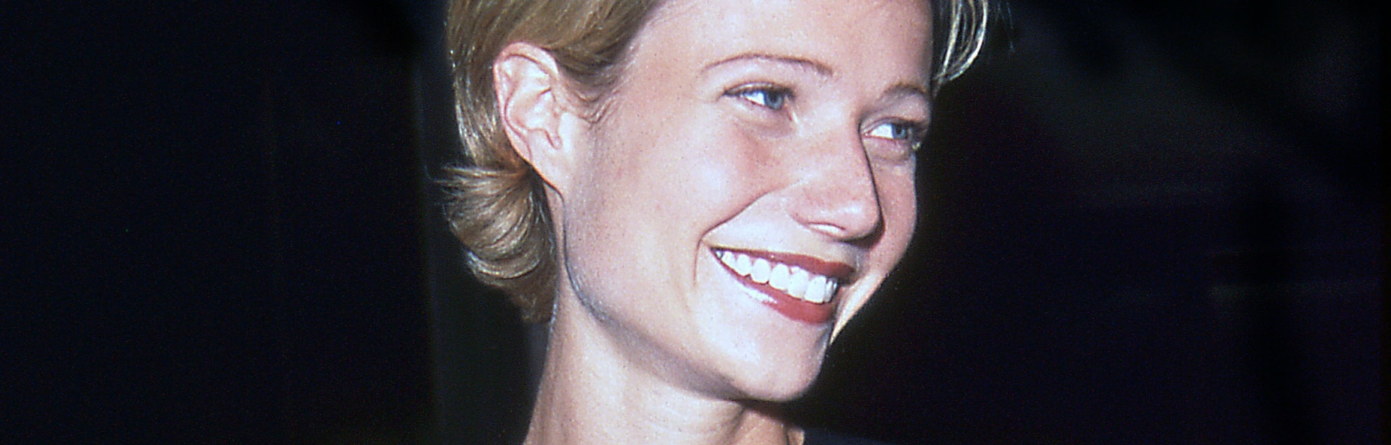 Actress Gwyneth Paltrow smiles while attending a dinner at the Four Seasons Restaurant, New York, Ne...