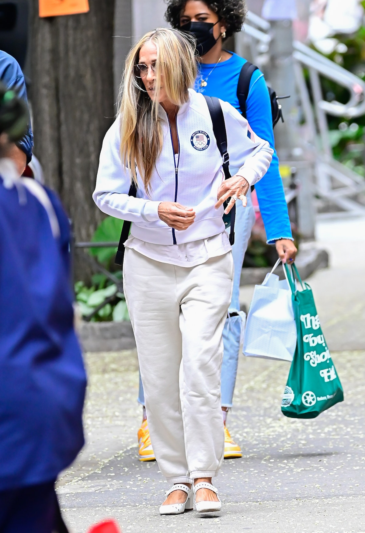 Sarah Jessica Parker wears Les Tien classic sweatpants as Carrie Bradshaw on the set of And Just Lik...