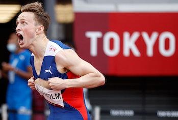 Karsten Warholm of Norway celebrates after the Men's 400m Hurdles Final at the Tokyo 2020 Olympic Ga...