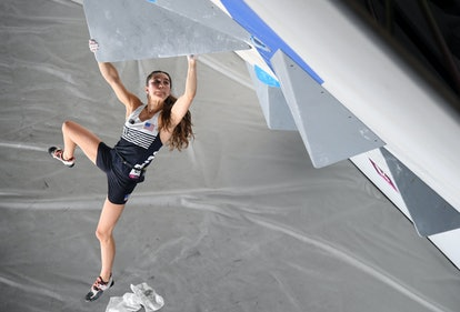 Brooke Raboutou competing during the Sport Climbing Women's Combined, Bouldering Olympic Qualificati...