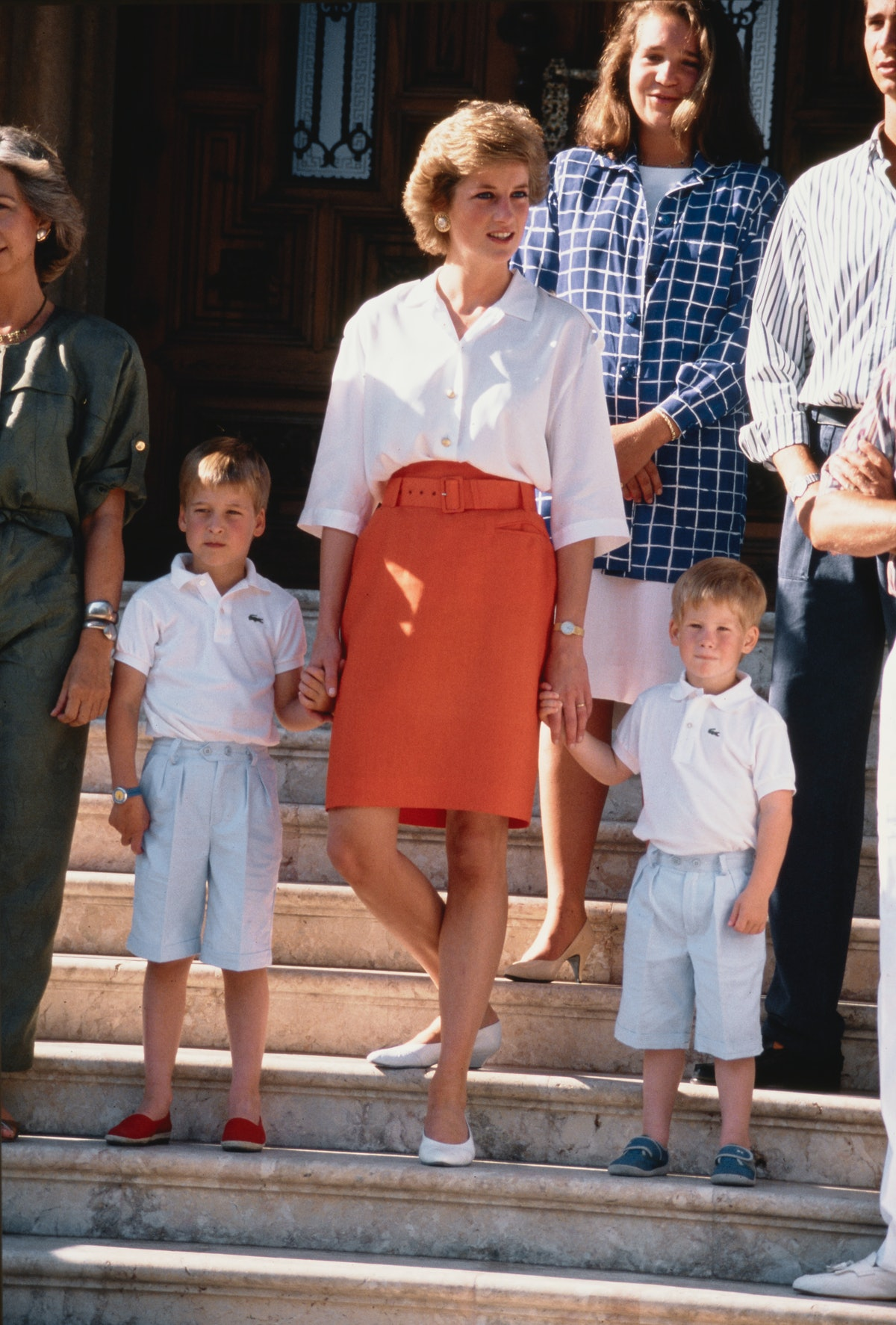 Diana, Princess of Wales with her sons Prince William and Prince Harry during a holiday with the Spa...