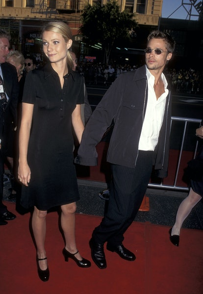 """HOLLYWOOD - APRIL 27:   Actress Gwyneth Paltrow and actor Brad Pitt attend the """"Waterworld"""" Hollywoo..."""
