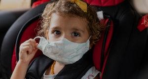 Child wearing face mask - coronavirus