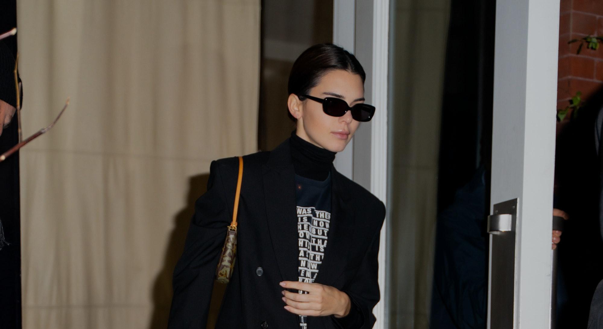 NEW YORK, NEW YORK - NOVEMBER 17: Kendall Jenner is seen in SoHo on November 17, 2019 in New York Ci...