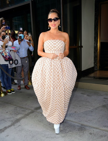 NEW YORK, NEW YORK - AUGUST 05: Lady Gaga exits her hotel on August 05, 2021 in New York City. (Phot...
