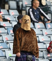 GLASGOW, SCOTLAND - JUNE 14: A Scotland fan dressed as Star Wars character Chewbacca is seen during ...