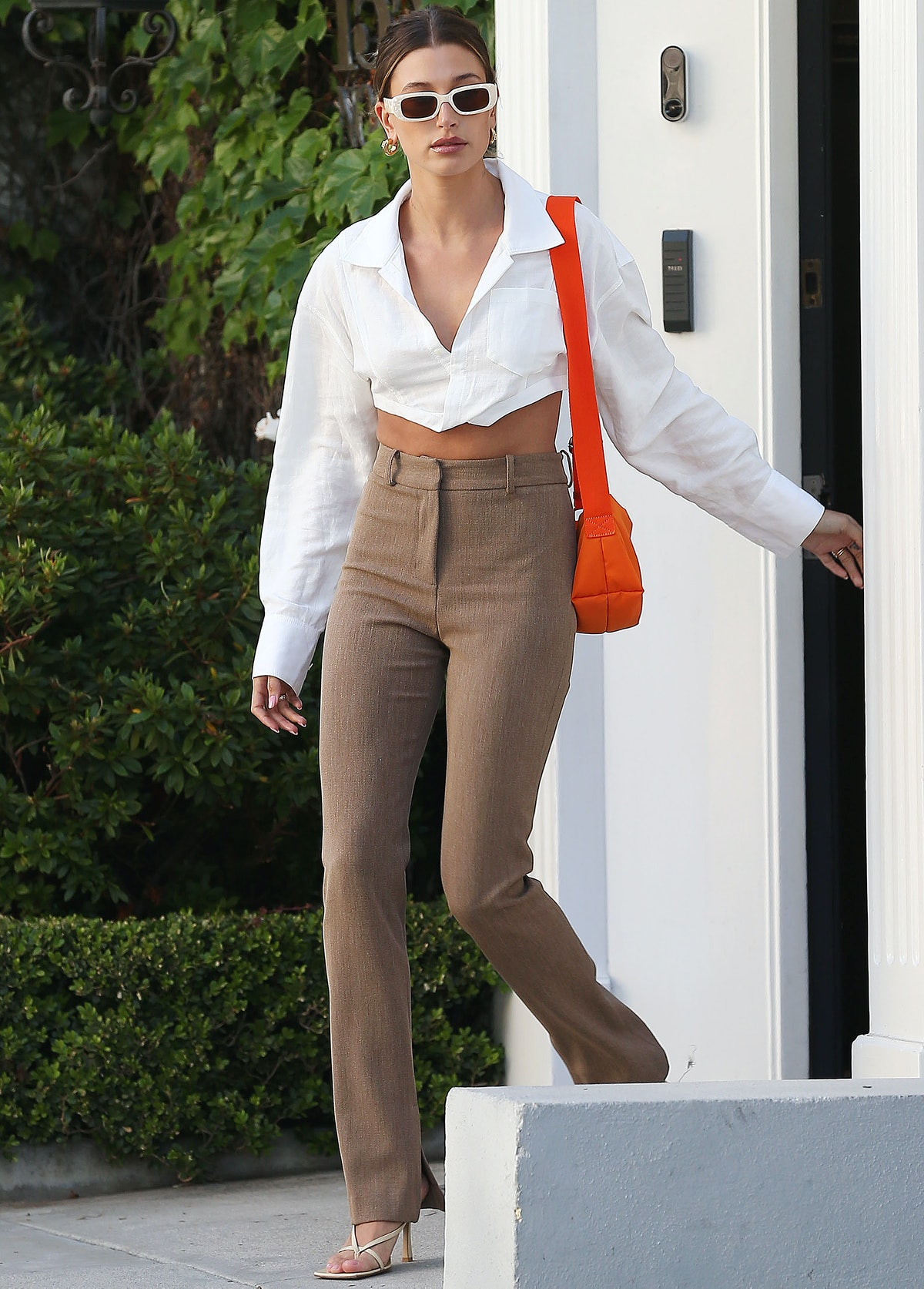 Hailey Bieber wears Xray Specs from Reality Eyewear while out and about on May 4, 2021 in Los Angele...