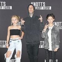 BUENA PARK, CA - SEPTEMBER 29:  Travis Barker with his children, Alabama Luella Barker and Landon As...