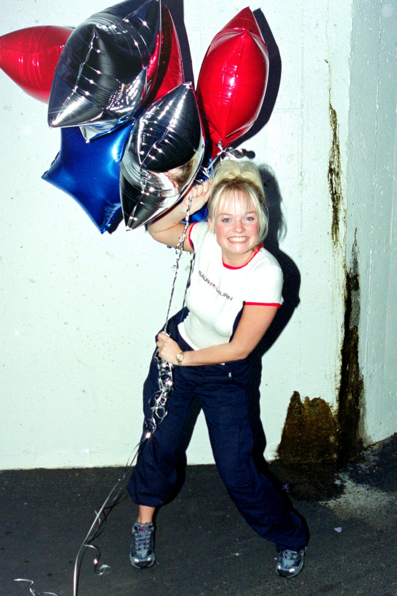 Emma Bunton (Baby Spice) of The Spice Girls celebrate as their single Viva Forever goes to number on...