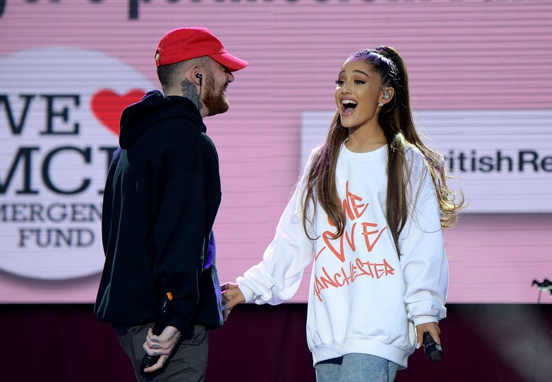 MANCHESTER, ENGLAND - JUNE 04:  Mac Miller (L) and Ariana Grande perform on stage during the One Lov...