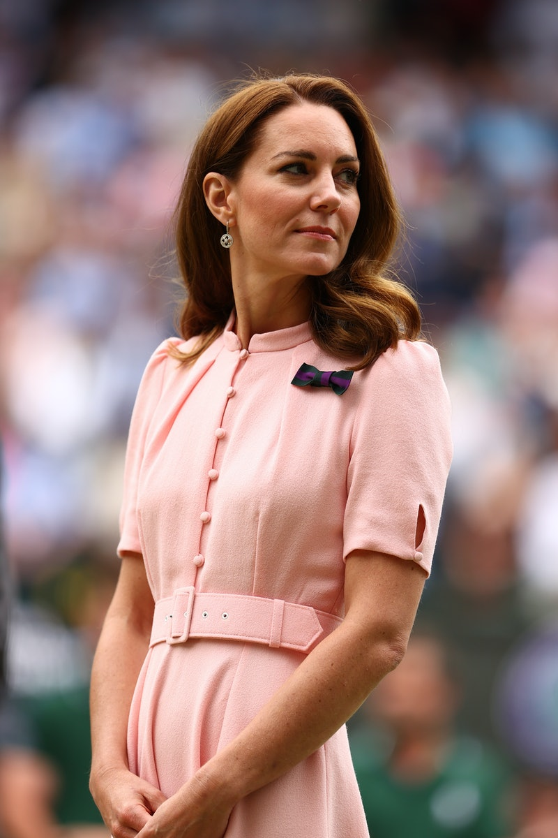 LONDON, ENGLAND - JULY 11: HRH Catherine, Duchess of Cambridge looks on after the men's Singles Fina...