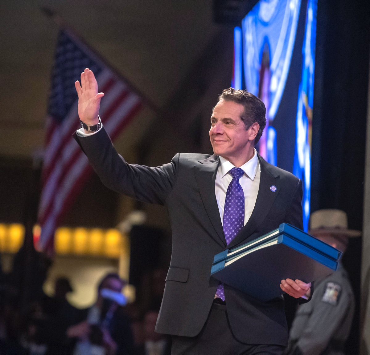 Albany, N.Y.: New York State Governor Andrew Cuomo waves before being introduced by Lieu. Gov Kathy ...