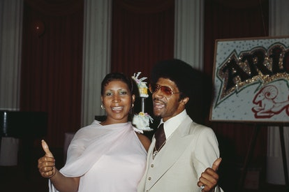 American singer, songwriter, pianist, and civil rights activist Aretha Franklin (1942 - 2018) attend...