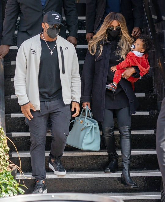 NEW YORK, NY - APRIL 10:  Ciara and Russell Wilson are seen with son Win Harrison on April 10, 2021 ...
