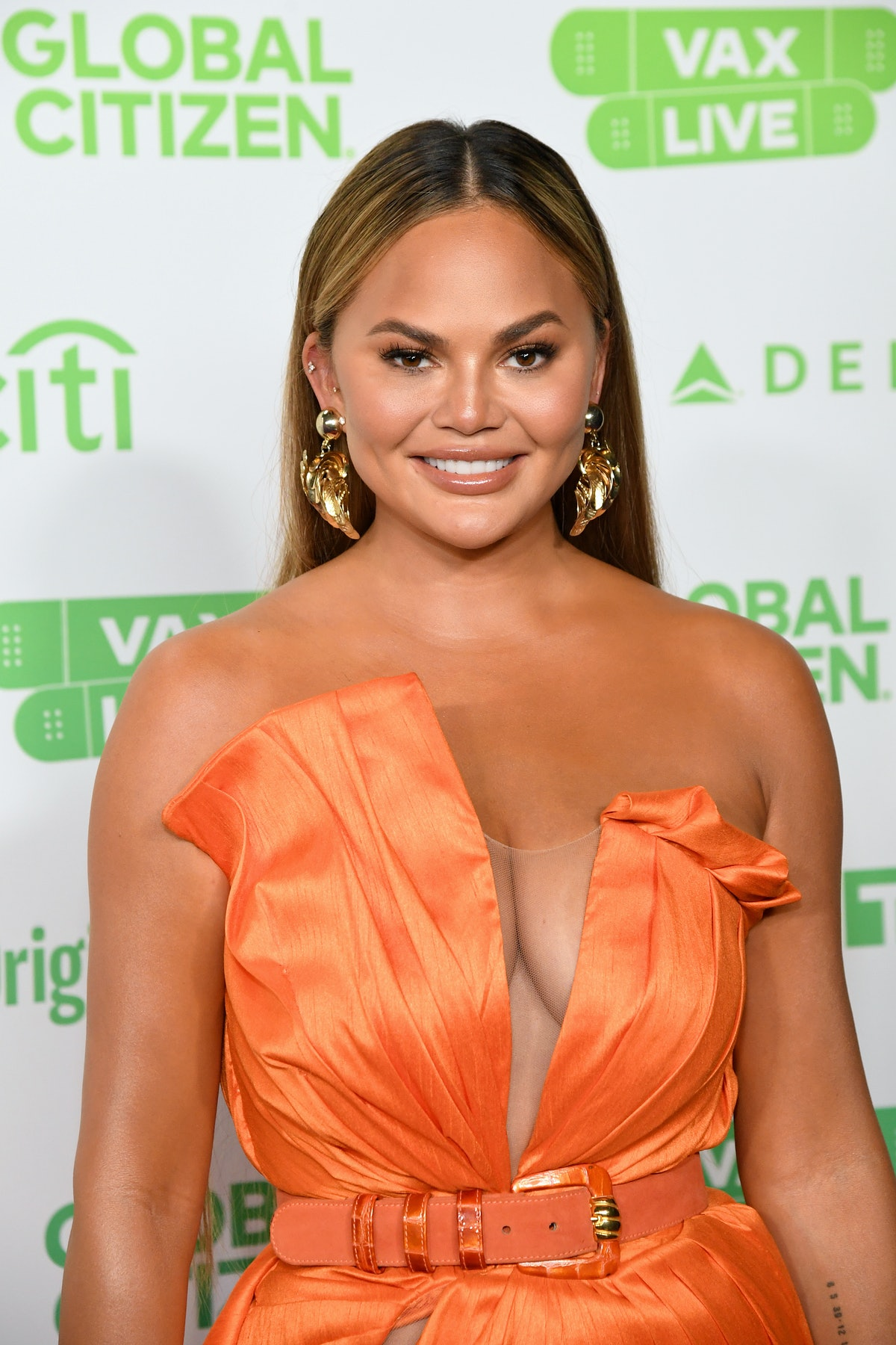 INGLEWOOD, CALIFORNIA: In this image released on May 2, Chrissy Teigen attends Global Citizen VAX LI...