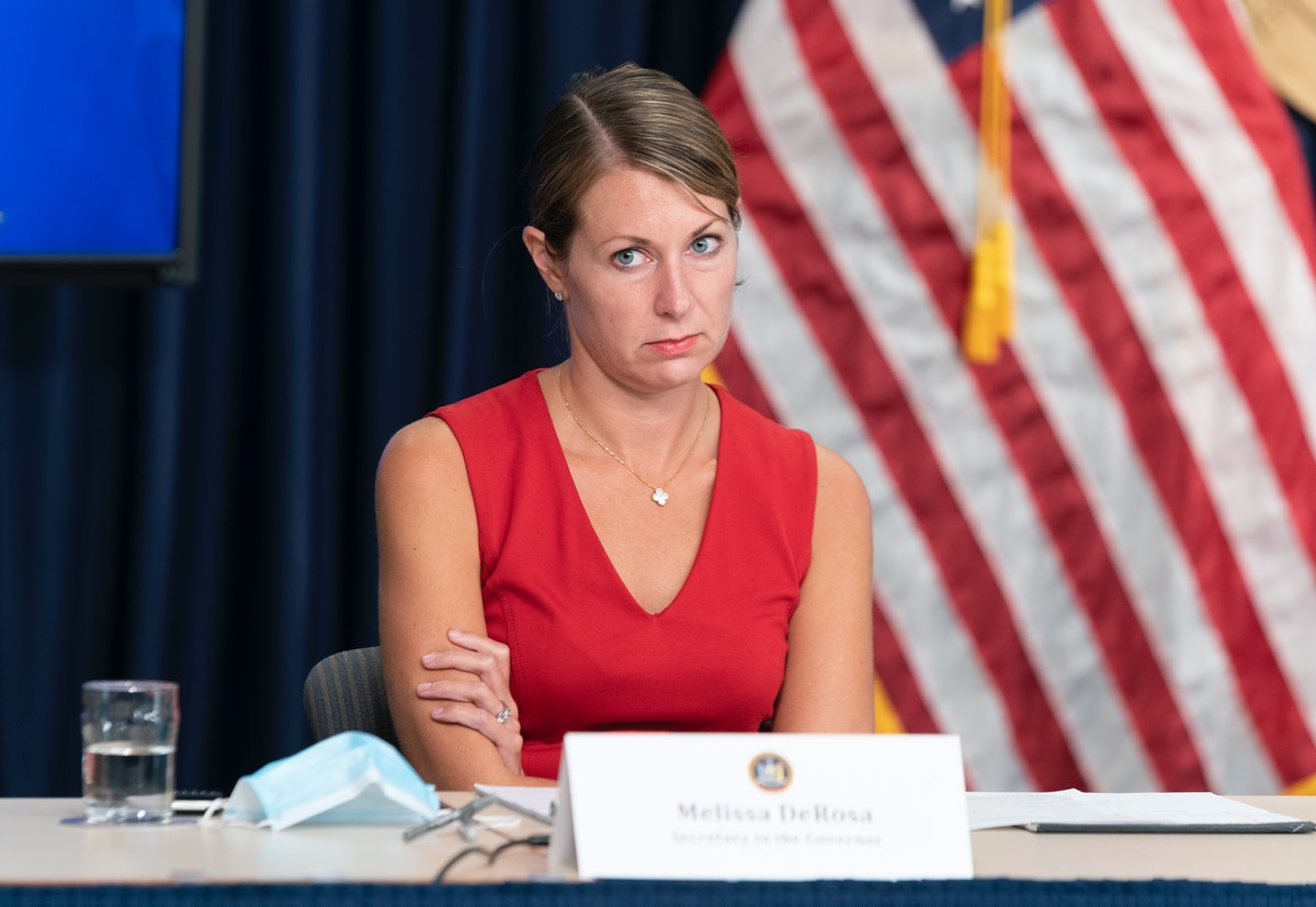NEW YORK, UNITED STATES - 2020/09/09: Melissa DeRosa Secretary to Governor attends Andrew Cuomo anno...