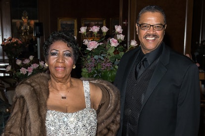 Singer Aretha Franklin and Willie Wilkerson attend Aretha Franklin's Birthday Celebration at the Rit...
