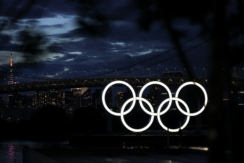 TOKYO, JAPAN - AUGUST 08:  A general view of Olympic Rings and Rainbow Bridge prior to the Closing C...