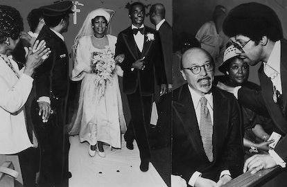 Soul music singer Aretha Franklin and Glynn Turman during their wedding, April 11, 1978.