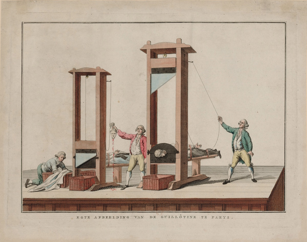 Real depiction of the guillotine at Paris, 1791-1792. Found in the Collection of Bibliothèque Nation...