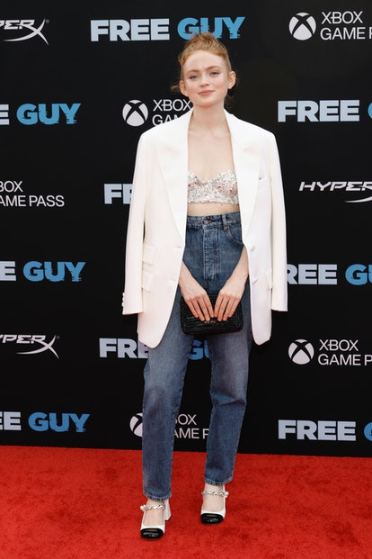 """NEW YORK, NEW YORK - AUGUST 03: Sadie Sink attends the """"Free Guy"""" New York Premiere at AMC Lincoln S..."""