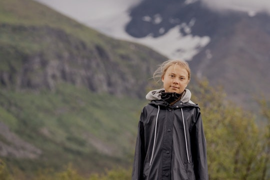Swedish climate activist Greta Thunberg poses for a photo by the Ahkka mountain at the world heritag...