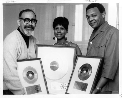 Record producer Jerry Wexler, soul singer Aretha Franklin and her husband and manager Ted White pose...
