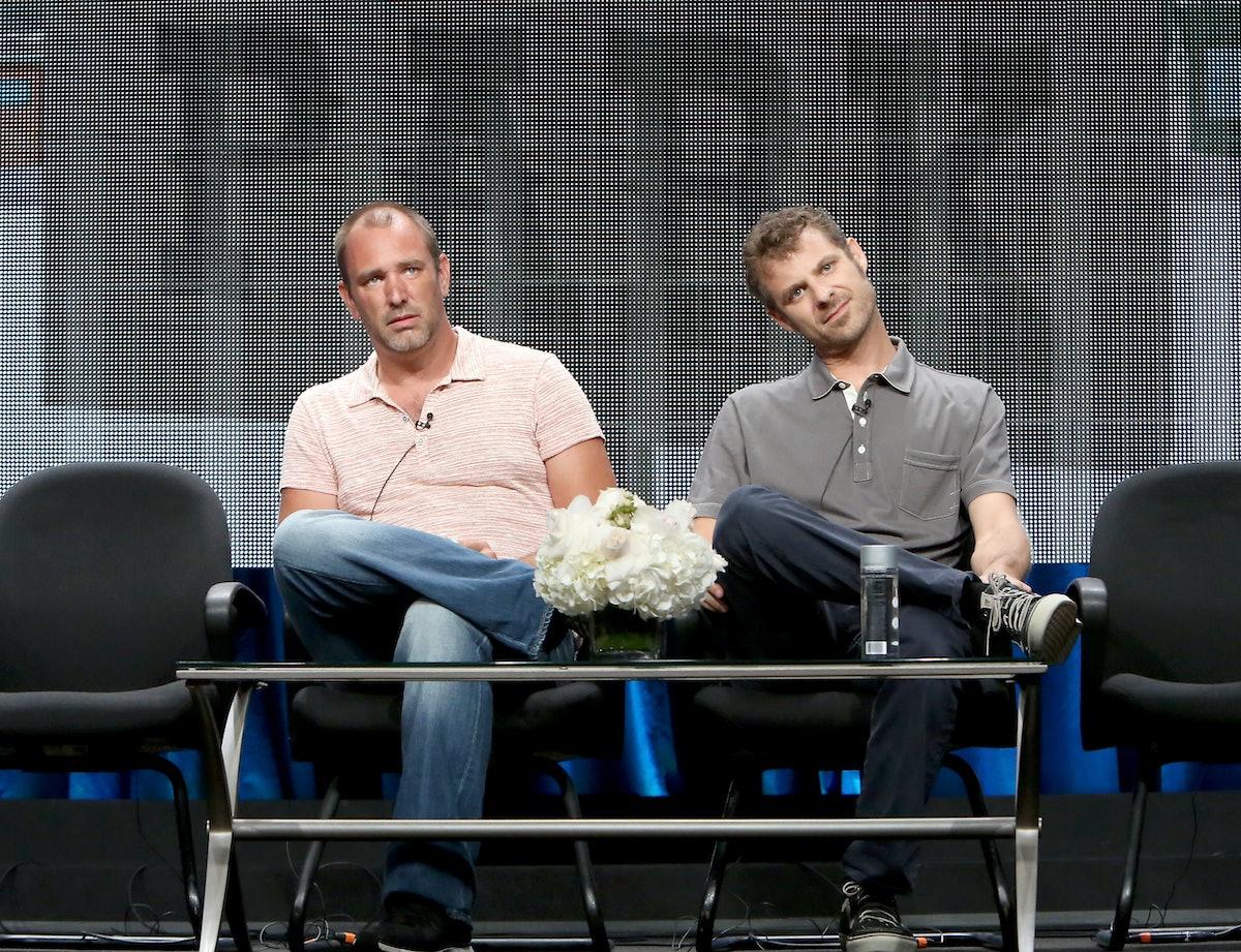 BEVERLY HILLS, CA - JULY 12:  Writer/creators Trey Parker (L) and Matt Stone speak onstage during th...