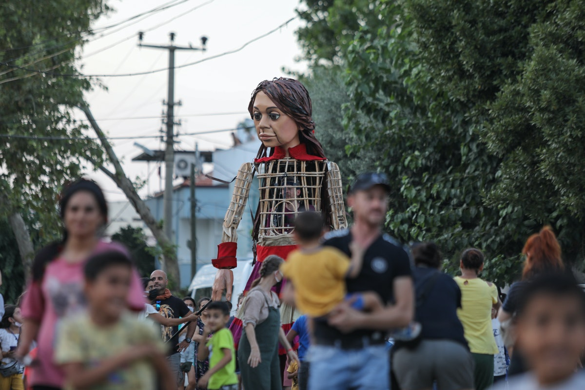 IZMIR, TURKEY - AUGUST 04: The 'Little Amal', 3.5-meter tall puppet en route to the UK prepared as p...