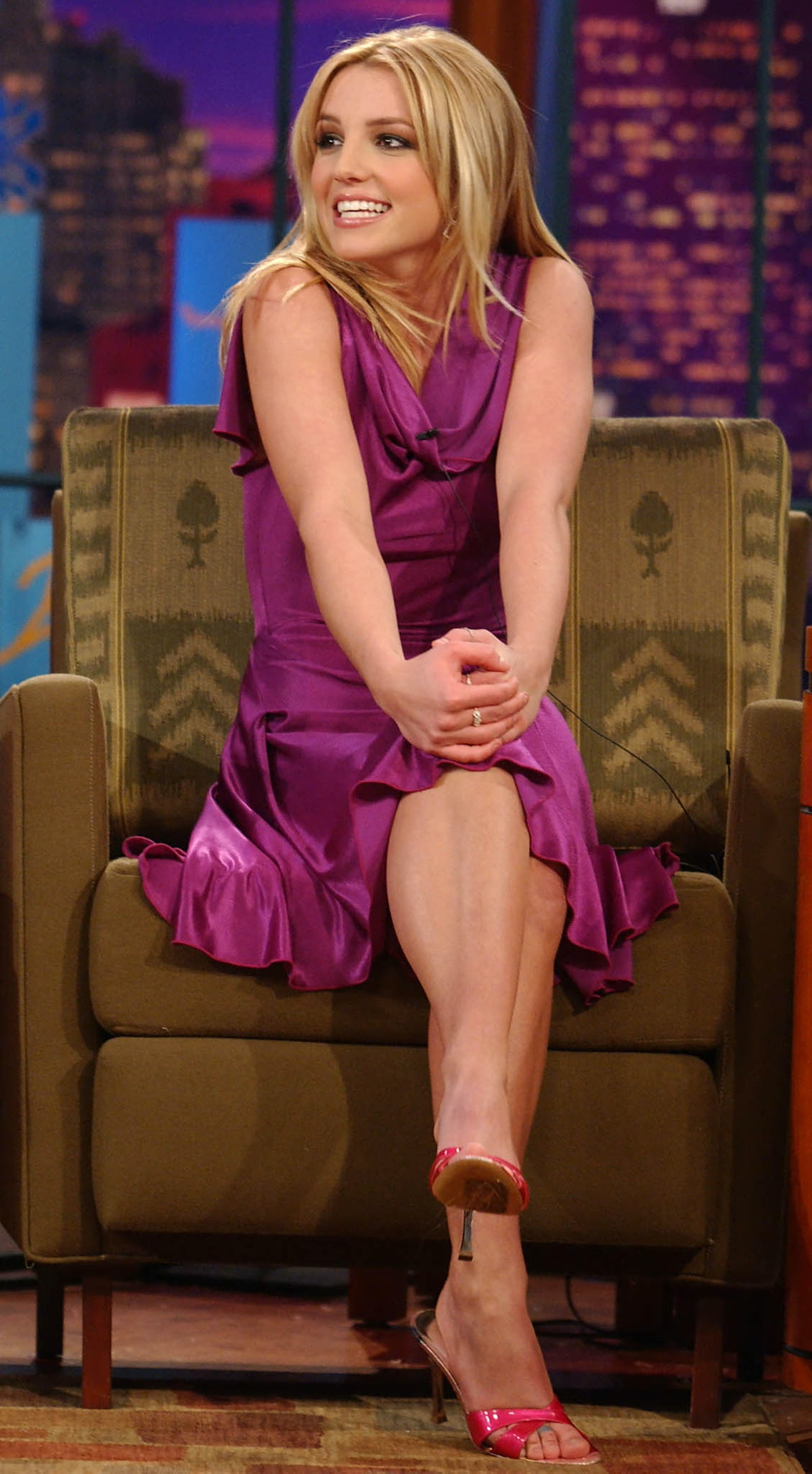 US singer/actress Britney Spears acknowledges the audience as she sits down for an interview with Ja...