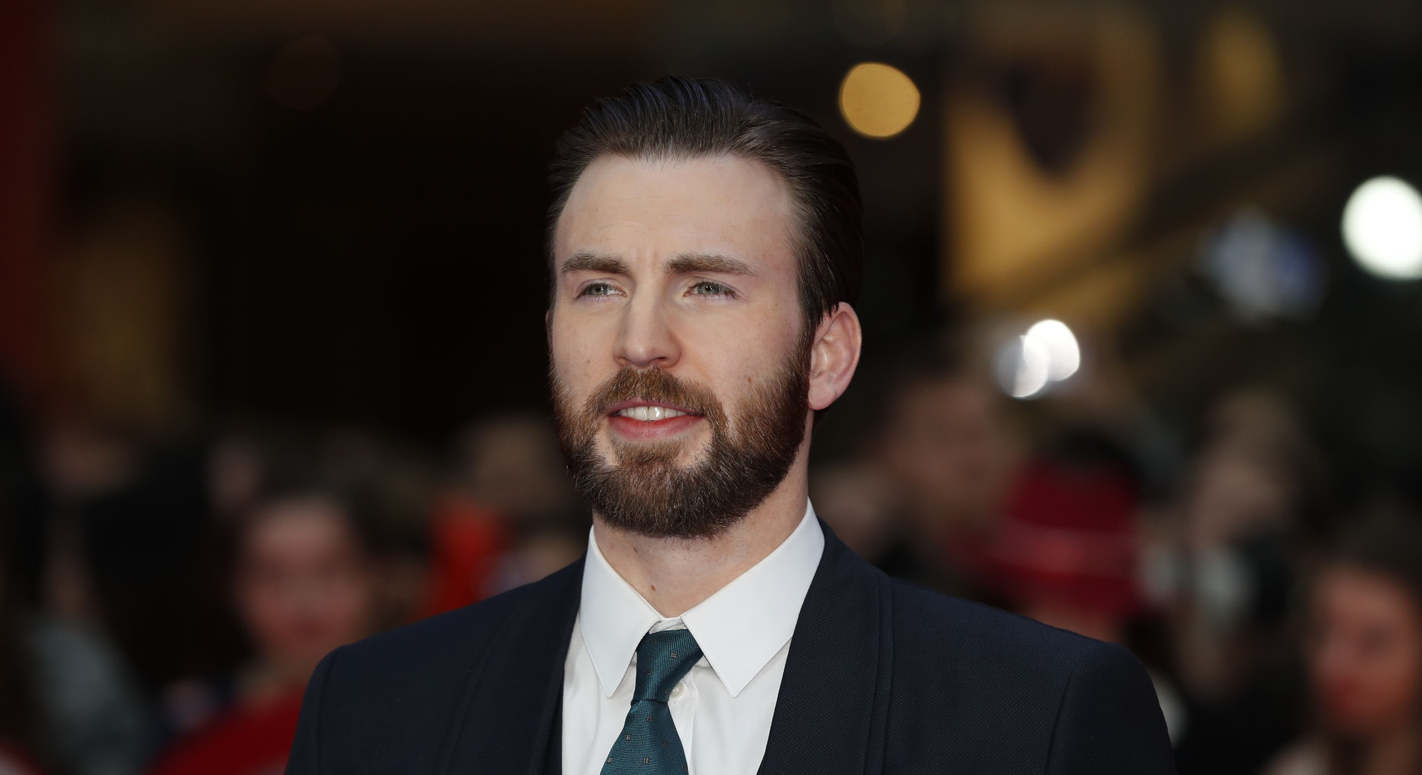 US actor Chris Evans poses on the red carpet arriving for the European Premiere of the film Captain ...