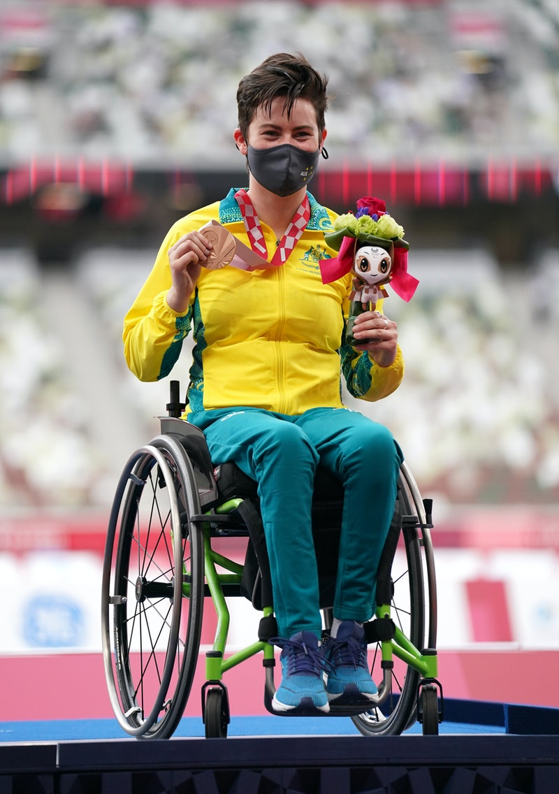 Australia's Robyn Lambird poses with her bronze medal after finishing third in the Women's 100 metre...