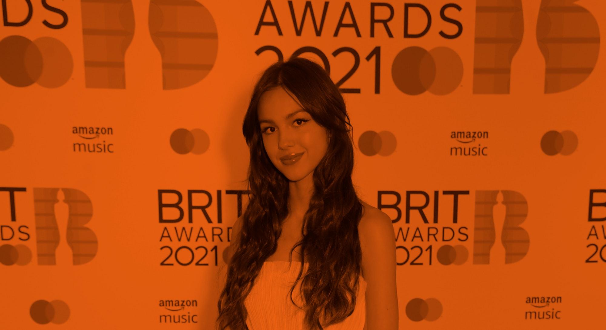 LONDON, ENGLAND - MAY 11:   Olivia Rodrigo arrives at The BRIT Awards 2021 at The O2 Arena on May 11...