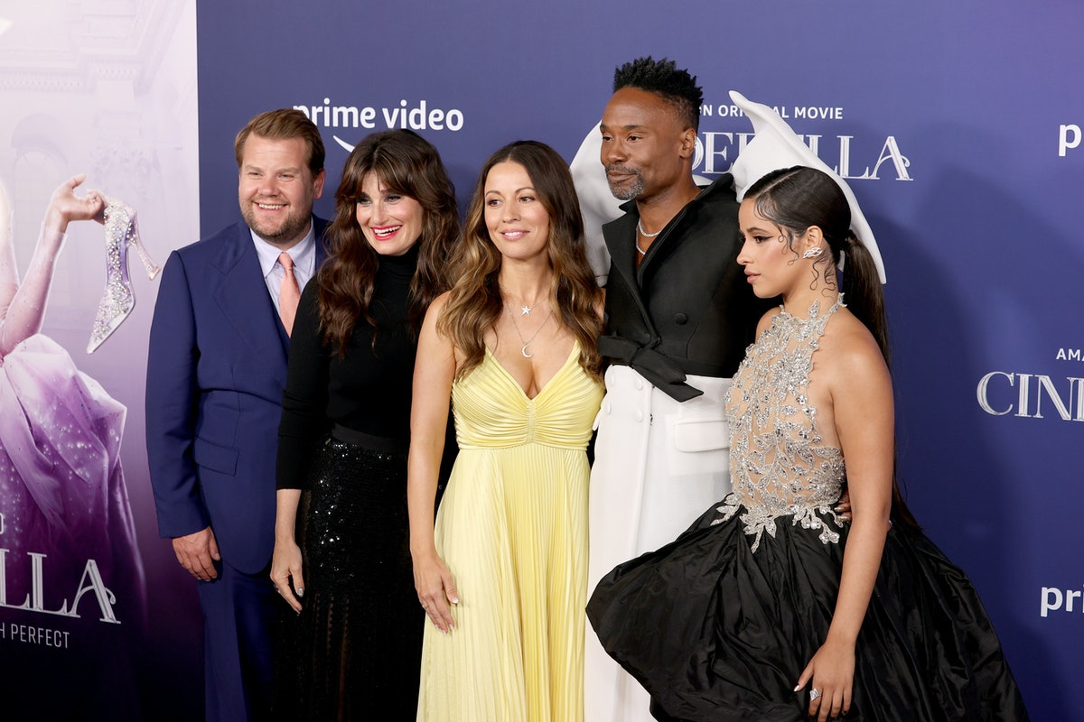 LOS ANGELES, CALIFORNIA - AUGUST 30: (L-R) James Corden, Idina Menzel, Kay Cannon, Billy Porter, and...