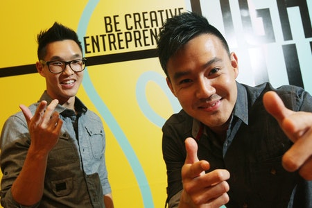 Wesley Chan (Left) and Philip Wang, from Wong Fu productions, pose at the Academy Community Hall of ...
