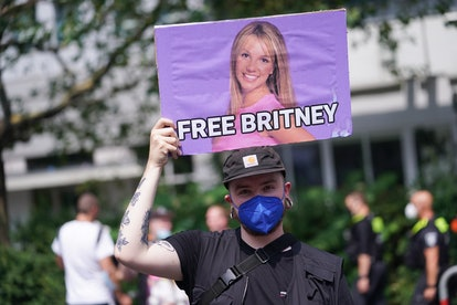 """A sign reading """"Free Britney"""" is seen at the Christopher Street Day parade in July 2021."""
