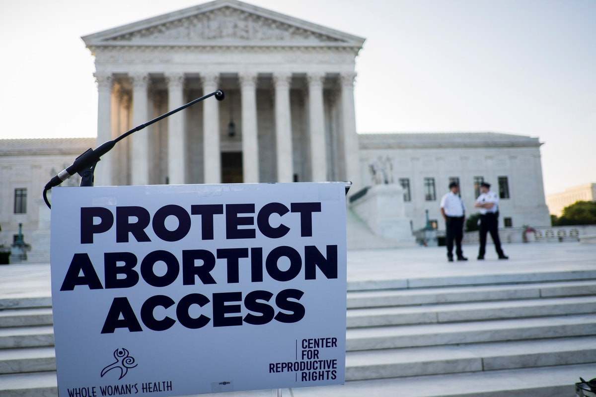 A podium awaits pro-choice speakers in front of the U.S. Supreme Court  on June 27, 2016 in Washingt...