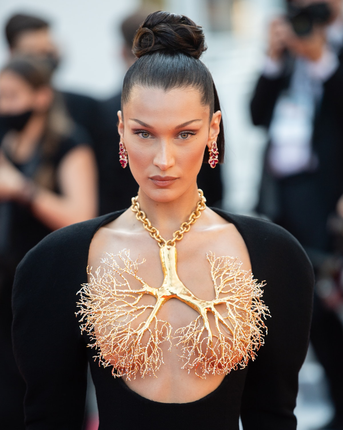 """CANNES, FRANCE - JULY 11: Bella Hadid attends the """"Tre Piani (Three Floors)"""" screening during the 74..."""
