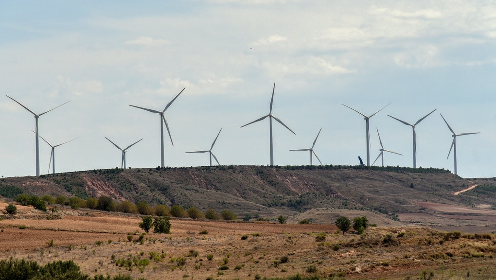 PRADEJóN, LOGROñO, SPAIN - 2021/08/25: A view of wind turbines at the Wind Energy Plant Raposeras in...