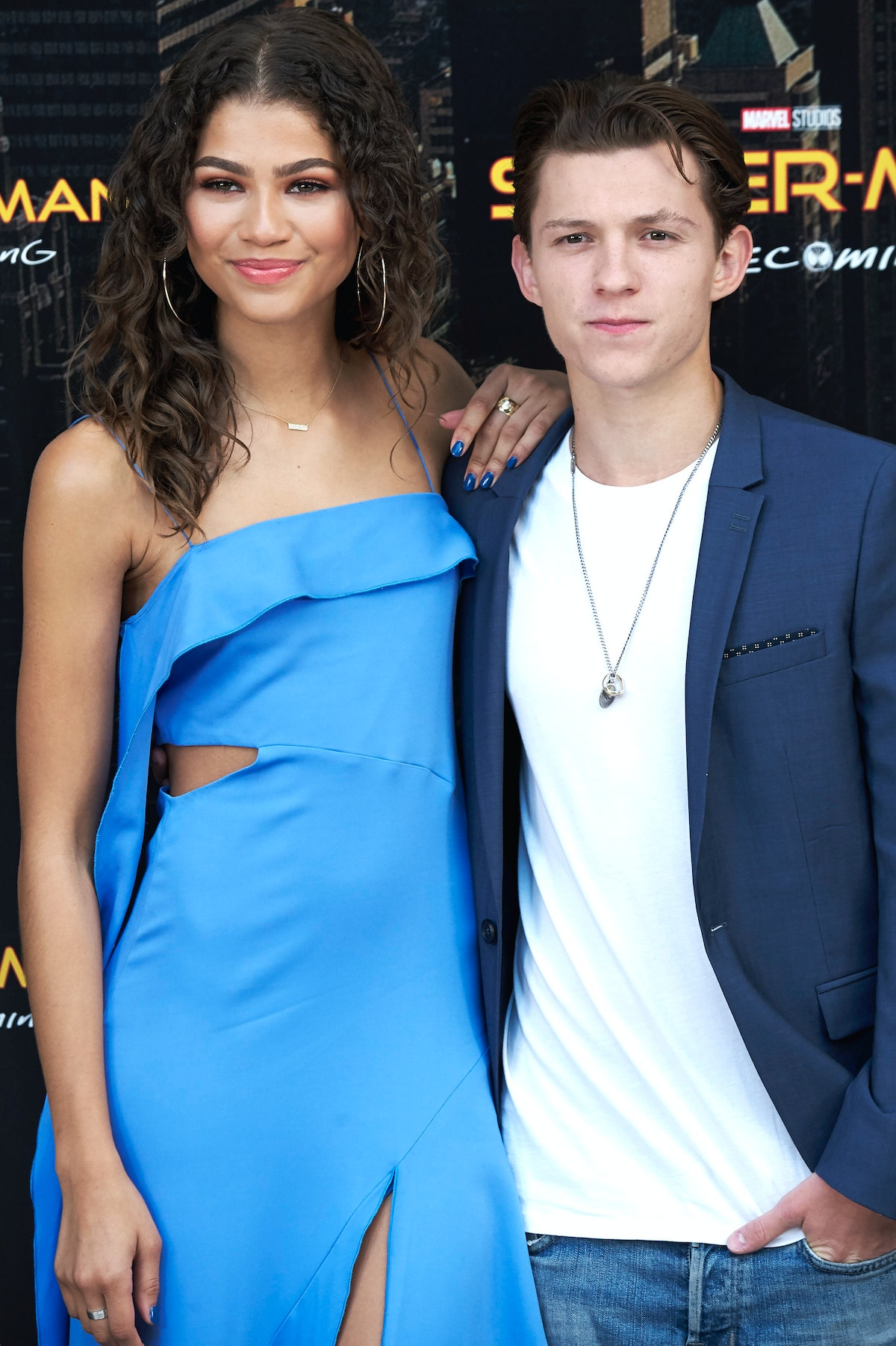 MADRID, SPAIN - JUNE 14:  Actress Zendaya and actor Tom Holland attend 'Spider-Man: Homecoming' phot...