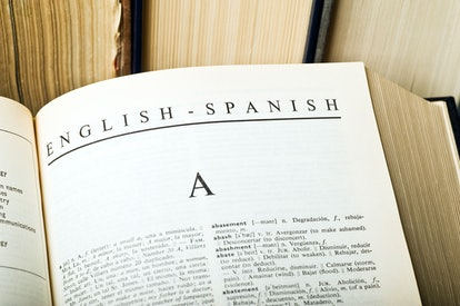 Letter A of english spanish dictionary.