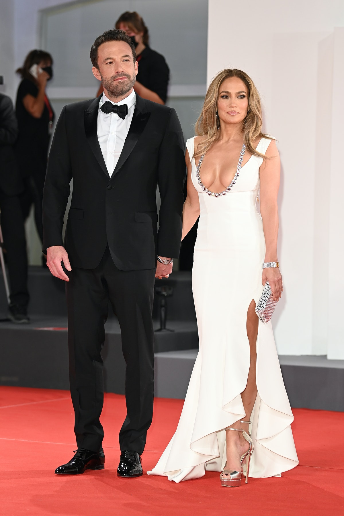"""Ben Affleck and Jennifer Lopez attend the red carpet of the movie """"The Last Duel"""" during the 78th Ve..."""