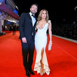 Ben Affleck and Jennifer Lopez attend the red carpet of the movie 'The Last Duel' during the 78th Ve...