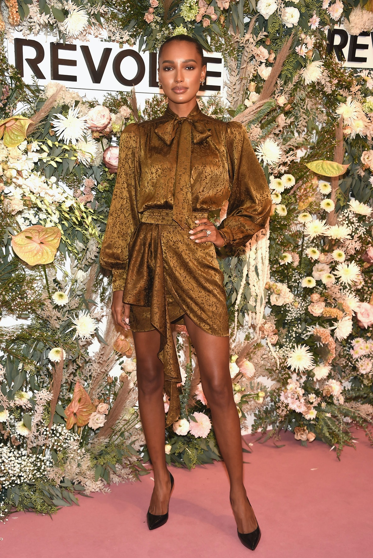 Jasmine Tookes attends the inaugural REVOLVE GALLERY at Hudson Yards in New York City in September 2...