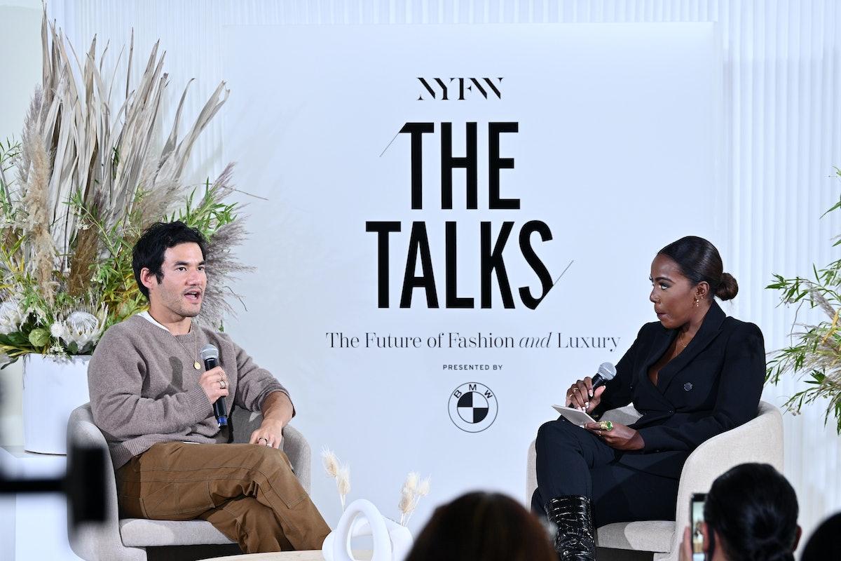 Designer Joseph Altuzarra and Vice President of Fashion at Bustle Media Group Tiffany Reid speak at ...