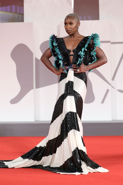 """VENICE, ITALY - SEPTEMBER 10: Cynthia Erivo attends the red carpet of the movie """"The Last Duel"""" duri..."""