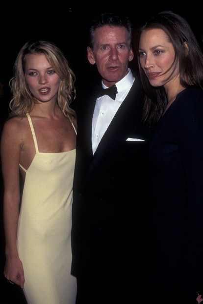 Kate Moss with Calvin Klein and Christy Turlington at the Met Gala in 1995