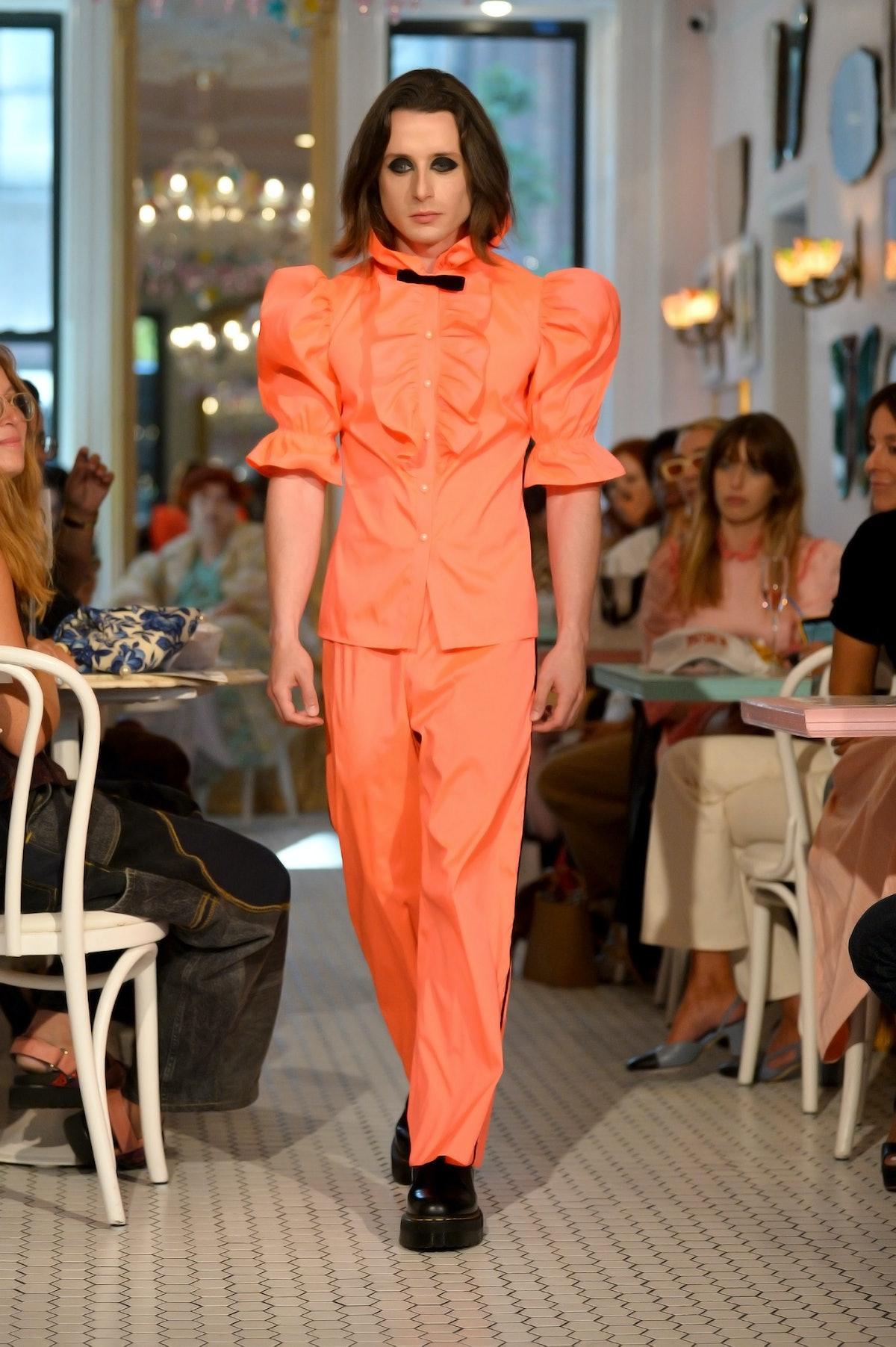 NEW YORK, NEW YORK - SEPTEMBER 10: A model walks the runway for Batsheva during NYFW: The Shows on S...