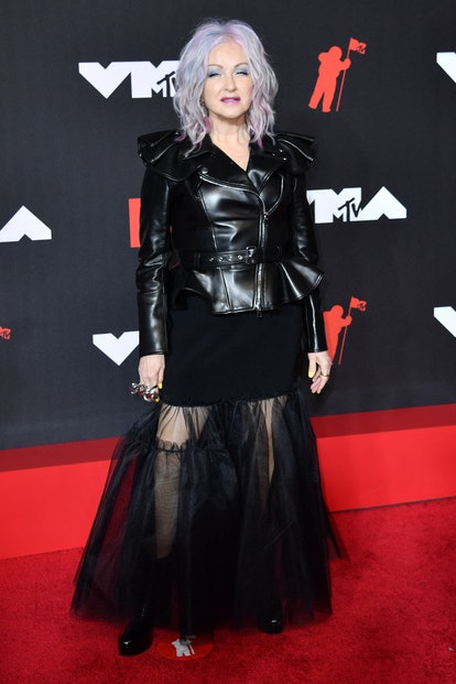 US singer Cyndi Lauper arrives for the 2021 MTV Video Music Awards at Barclays Center in Brooklyn, N...