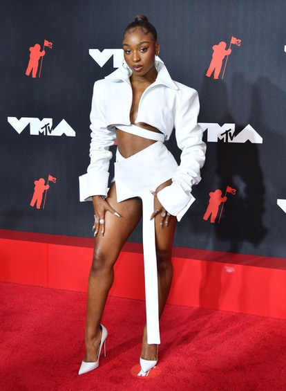 US singer Normani arrives for the 2021 MTV Video Music Awards at Barclays Center in Brooklyn, New Yo...